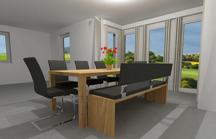 Esszimmer- 3D Visualisierung - Wiesner Tischlermöbel