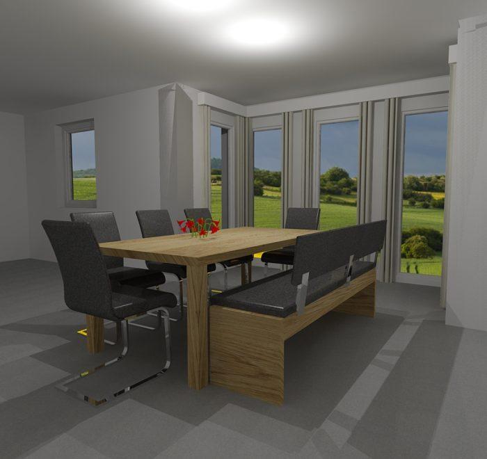 Essbereich - Esstisch - 3D Visualisierung - Wiesner Tischlermöbel