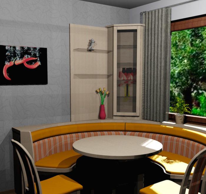 Essbereich - Esstisch- 3D Visualisierung - Wiesner Tischlermöbel