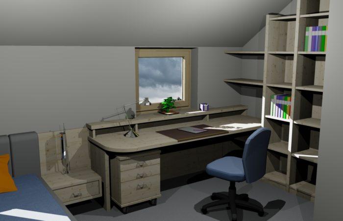 Kinderzimmer - 3D Visualisierung - Wiesner Tischlermöbel