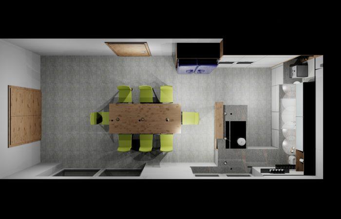 Grundriss Küche mit Essbereich- 3D Visualisierung - Wiesner Tischlermöbel