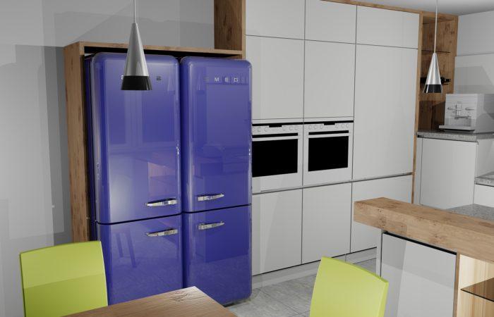 Küche - Detail Kühlebene - 3D Visualisierung - Wiesner Tischlermöbel