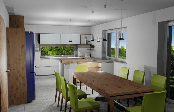 Küche mit Essbereich - 3D Visualisierung - Wiesner Tischlermöbel