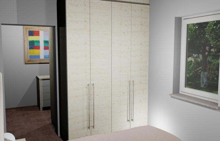 Schlafzimmer - 3D Visualisierung - Wandschrank - Wiesner Tischlermöbel
