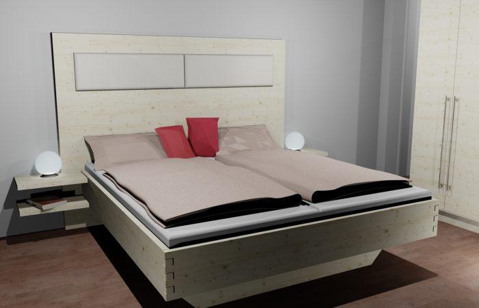 Schlafzimmer - 3D Visualisierung - Bett - Wiesner Tischlermöbel