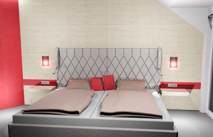 Schlafzimmer Bett - 3D Visualsierung - Wiesner Tischlermöbel